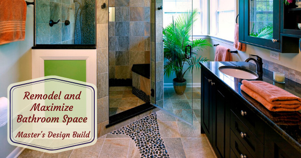Bathroom remodel with decorative tile floor and shower.